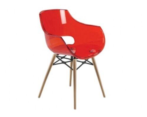 Кресло Papatya Opal-Wox натуральний бук прозрачно-красное - Фото №1
