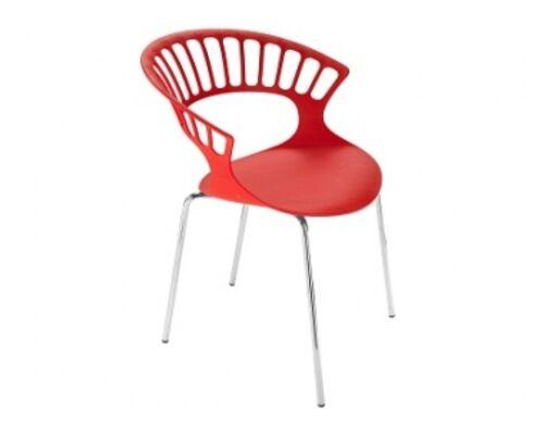 Кресло Papatya Tiara красное/база хром - Фото №1