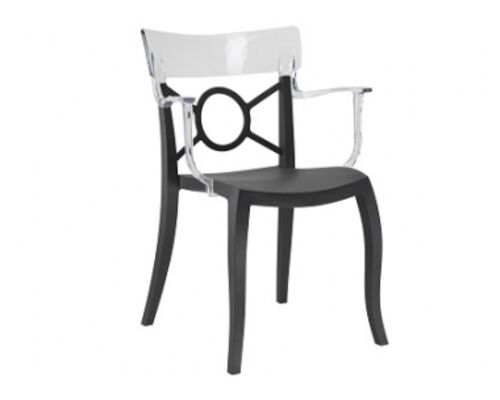 Кресло Papatya Opera-K сиденье черное/верх прозрачный - Фото №1