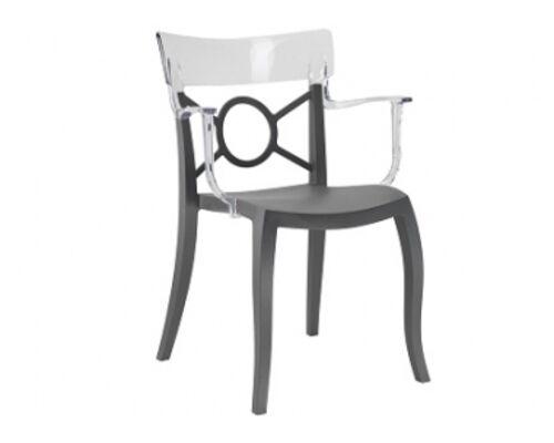 Кресло Papatya Opera-K сиденье антрацит/верх прозрачный - Фото №1