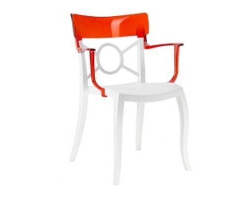 Кресло Papatya Opera-K сиденье белое/верх прозрачно-красный - Фото №1