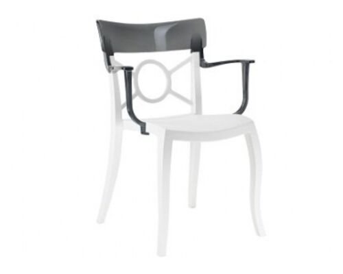 Кресло Papatya Opera-K сиденье белое/верх прозрачно-дымчатый - Фото №1