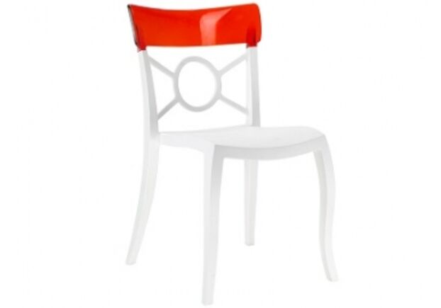 Кресло Papatya Opera-S сиденье белое/верх прозрачно-красный - Фото №1