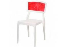 Стул пластиковый Орли РС белый с красной вставкой