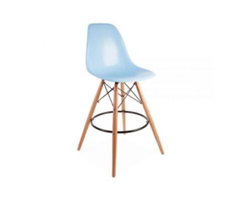 Барный высокий стул ТАУЭР ВУД голубой - Фото №1