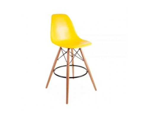 Барный высокий стул ТАУЭР ВУД жёлтый - Фото №1