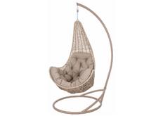 Кресло подвесное Ledi ротанг  коричневый бежевый  подушка бежевая