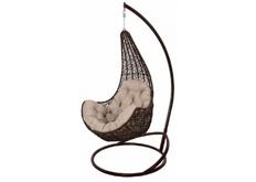 Кресло подвесное Ledi ротанг шоколад подушка бежевая