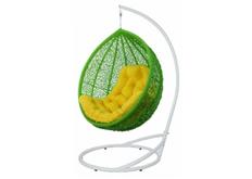 Кресло подвесное Vesta  ротанг салатовый подушка желтая