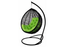 Кресло подвесное Vesta  ротанг черный подушка салатовая