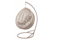 Кресло подвесное Vesta  ротанг коричневый бежевый подушка бежевая