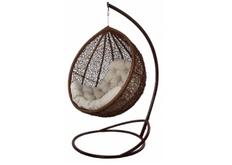 Кресло подвесное Vesta  ротанг шоколад подушка бежевая
