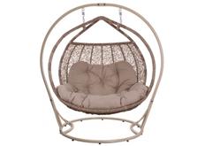 Кресло подвесное Galant  ротанг верба подушка бежевая (двухместный)