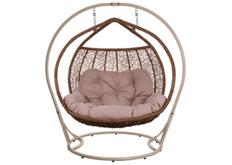 Кресло подвесное Galant  ротанг каштан подушка бежевая (двухместный)
