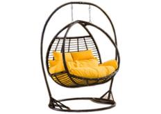 Кресло подвесное Galant  ротанг шоколад подушка желтая (двухместный)