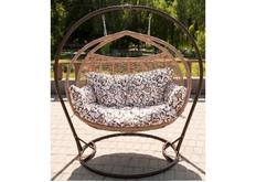 Кресло подвесное Galant  ротанг коричневый (кремовый) подушка орнамент (двухместный)
