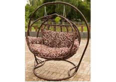 Кресло подвесное Galant  ротанг каштан подушка орнамент коричневый (двухместный)