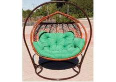 Кресло подвесное Galant  ротанг коньяк подушка молодая трава (двухместный)