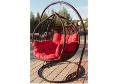 Кресло подвесное Galant  ротанг шоколад подушка красная (двухместный)