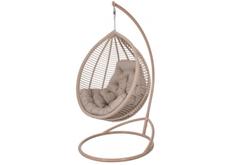 Кресло подвесное Kit  ротанг коричневый кофе подушка бежевая