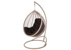 Кресло подвесное Kit  ротанг коричневый кофе подушка серая