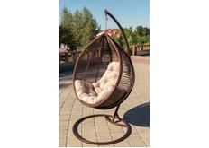 Кресло подвесное Kit  ротанг шоколад подушка шампань