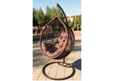 Кресло подвесное Kit  ротанг шоколад подушка орнамент коричневый