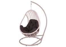 Кресло подвесное Комфорт  ротанг светло-розовый подушка серая