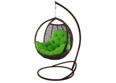 Кресло подвесное Teriko  ротанг шоколад подушка салатовая