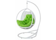 Кресло подвесное Teriko  ротанг белый подушка салатовая