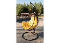 Кресло подвесное Adel  кокон шоколад подушка желтая