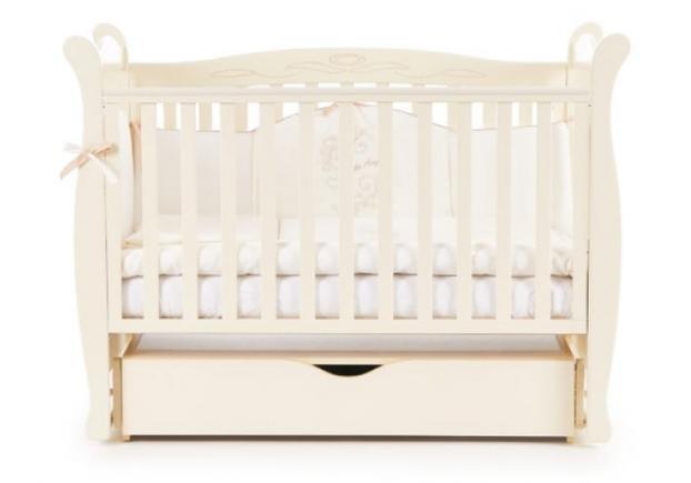 Детская кроватка Соня ЛД-15 цвет слоновая кость маятник с ящиком - Фото №2