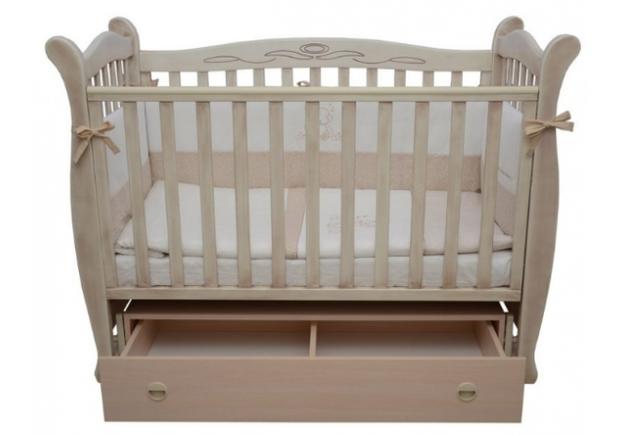 Детская кроватка Соня ЛД-15 патина цвет дуб молочный маятник с ящиком - Фото №2
