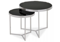 Набор из двух столиков  Signal Delia II черный/хром