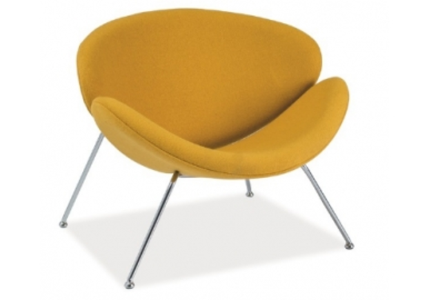 Кресло Major Signal ткань желтая/ ножки хром - Фото №1