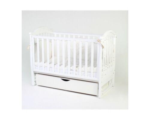 Детская кроватка Соня ЛД 3 белая с резьбой маятник с ящиком   - Фото №1