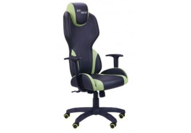 Кресло VR Racer Zeus черный, PU черный/зеленый - Фото №1