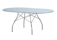 Стол стеклянный овальный Спайдер прозрачный 180*100*h72 см