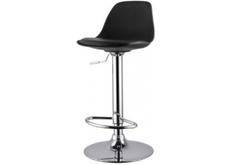 Высокий барный стул  с подушкой Тау H черный/ ножки металл черные