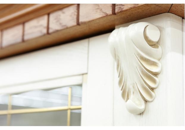 Комплект для гостинной - Витрина Фридом с тумбой под TV слоновая кость с золотой патиной - Фото №2