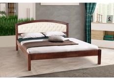 Двухспальная кровать Джульетта 140х200 см мягкое изголовье темный орех