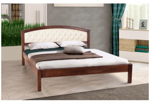 Двухспальная кровать Джульетта 140х200 см мягкое изголовье темный орех  - Фото №1
