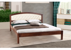 Двухспальная кровать Джульетта 180х200 см мягкое изголовье темный орех