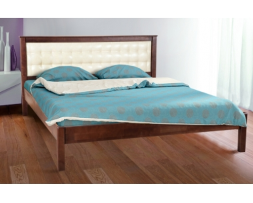 Двухспальная кровать Карина 140х200 см мягкое изголовье темный орех  - Фото №1