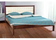 Двухспальная кровать Карина 180х200 см мягкое изголовье темный орех