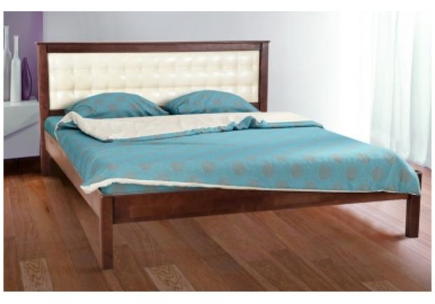 Двухспальная кровать Карина 180х200 см мягкое изголовье темный орех  - Фото №1