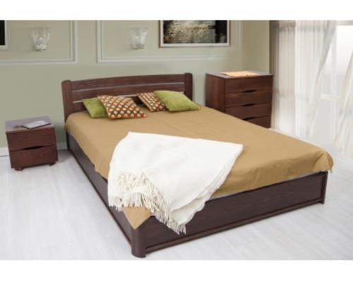 Двухспальная кровать из бука София 140х200 см орех темный - Фото №1