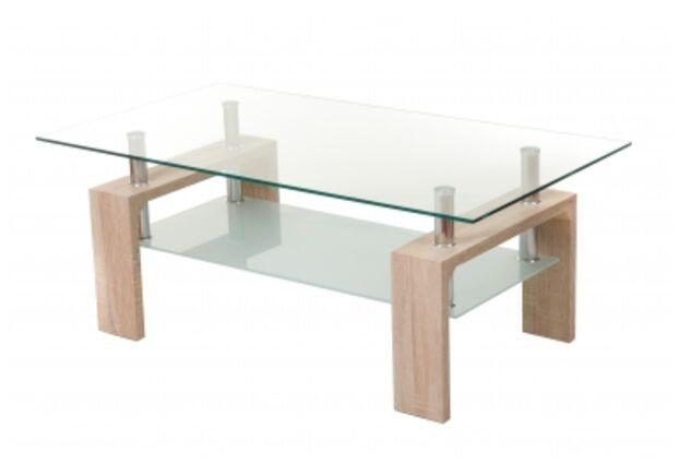 Столик журнальный С-107-2 белый дуб стекло/МДФ 110*60*h45 - Фото №1