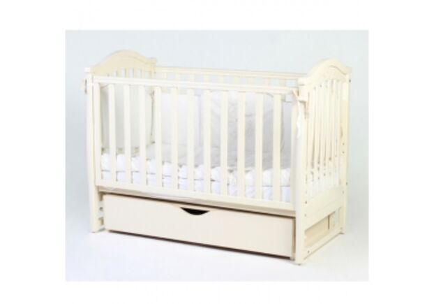 Детская кроватка Соня ЛД 3 слоновая кость с резьбой маятник с ящиком   - Фото №1