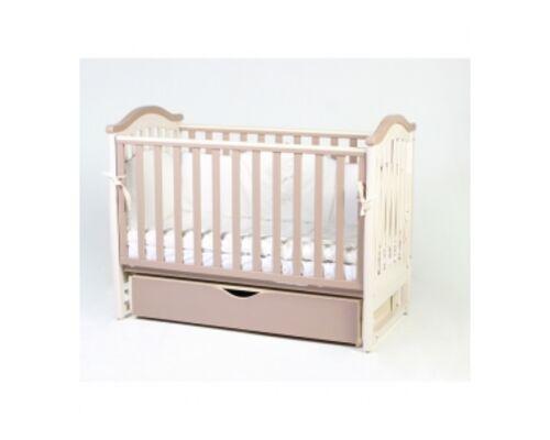 Детская кроватка Соня ЛД 3 капучино с резьбой маятник с ящиком   - Фото №1